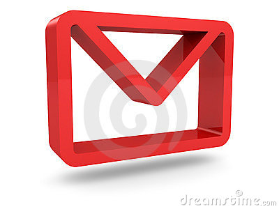 Glossy red mail envelope icon
