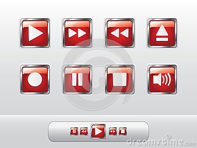 Glossy red music buttons