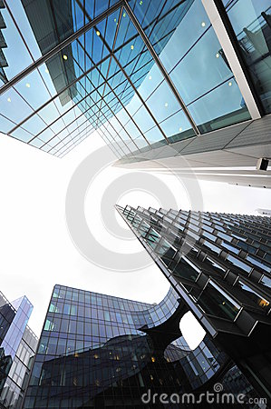 Glossy reflecting surfaces of modern buildings
