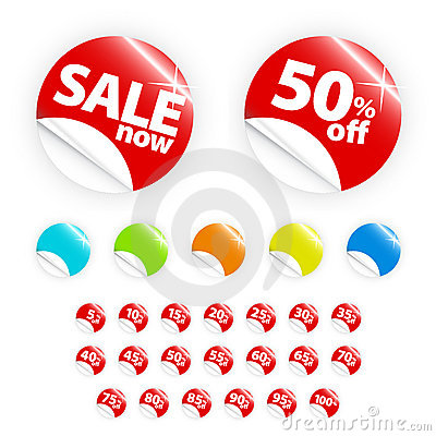 Free Glossy Retail Sticker Set: Sell And Discount Royalty Free Stock Photo - 4582885