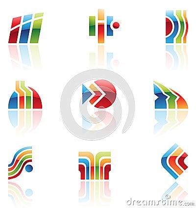 Glossy retro icons, logos