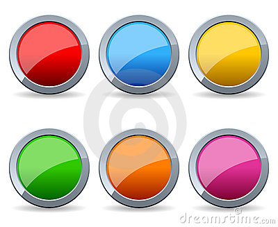 Glossy Round Metal Buttons Set