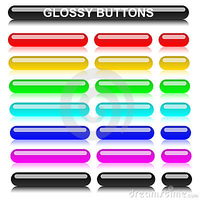 Glossy rounded elongated varicolored buttons