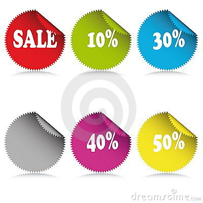 Glossy sale tag stickers with discount