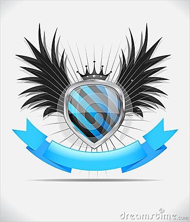 Glossy shield emblem on white background