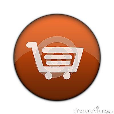 Glossy Shopping Cart 3D Web Button
