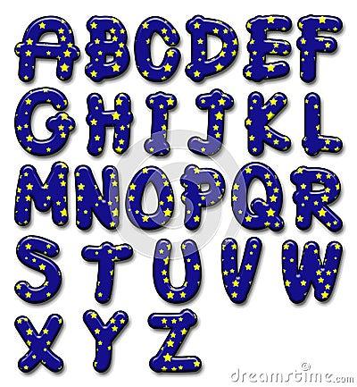 Glossy star alphabet