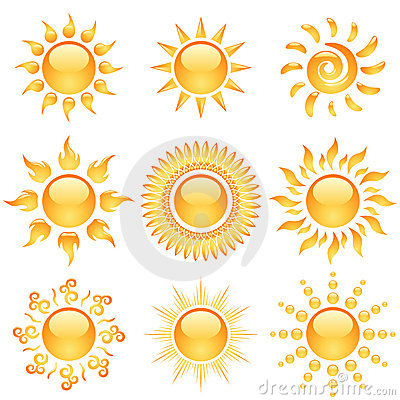 Glossy sun icons