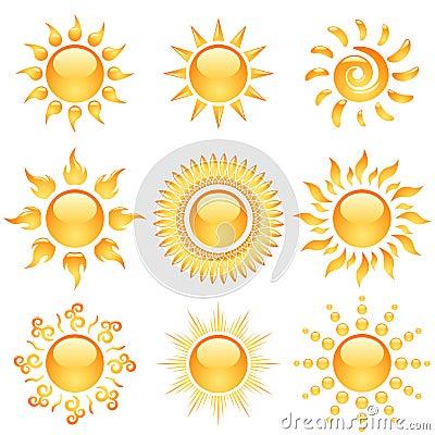 Glossy sun icons