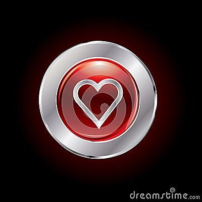Glossy valentine s day button