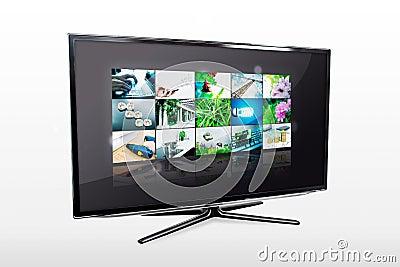 Glossy widescreen high definition tv screen