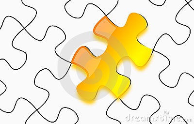 Glossy yellow 3d puzzle on paper