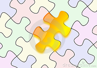 Glossy yellow puzzle on paper