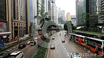 Gloucester droga w Wanchai, Hong Kong, na deszczowym dniu zdjęcie wideo