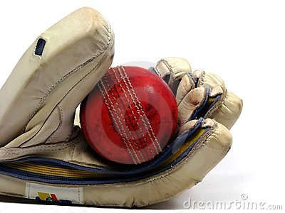 Glove holding cricket ball