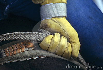 Glove of rodeo cowboy gripping rope