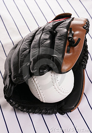 Glove and softball