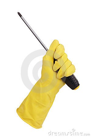 Gloved hand holding a screwdriver