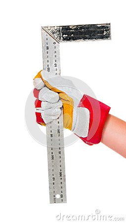 Gloved hand with ruler