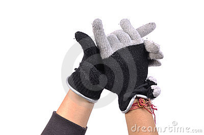 Gloved hands Stock Photo