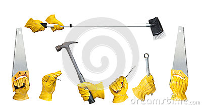 Hands holding construction tools