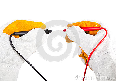Gloves acting with probes multimeter