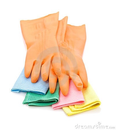 Gloves on colored rags