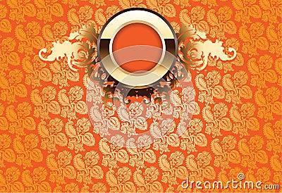 Glow Gold Ornate Over Orange Wallpaper