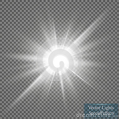 Free Glow Light Effect. Starburst With Sparkles On Transparent Background. Vector Illustration. Royalty Free Stock Photos - 94975688