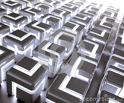 Glowing 3d cubes background