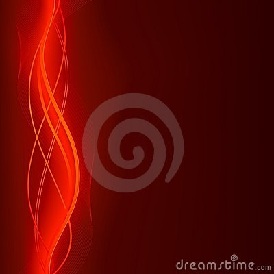 Glowing abstract wave background in flaming red