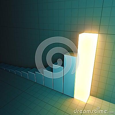Glowing bar chart