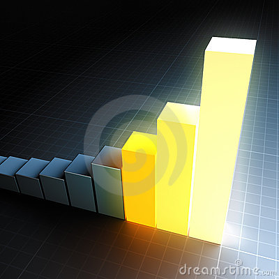 Glowing bar graph