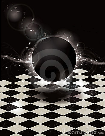 Glowing black orb on checkered background