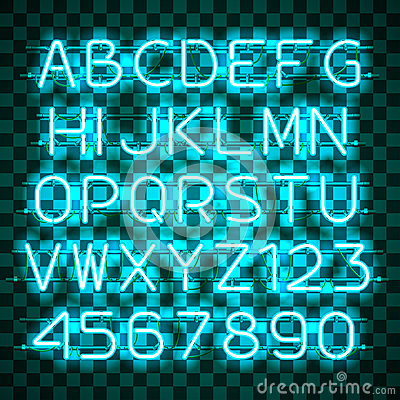 Glowing Blue Neon Alphabet. Vector Illustration