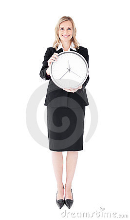 Glowing businesswoman holding a clock