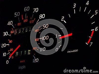 Glowing car spedometer, tachometer in darkness