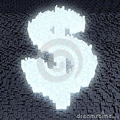Glowing dollar sign