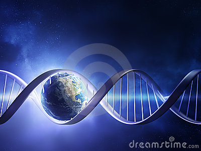 Glowing earth DNA strand