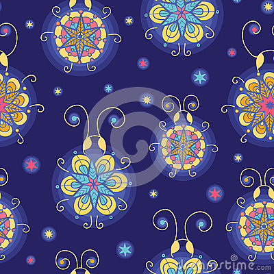 Glowing fireflies seamless pattern background