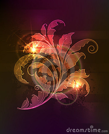 Glowing floral ornament