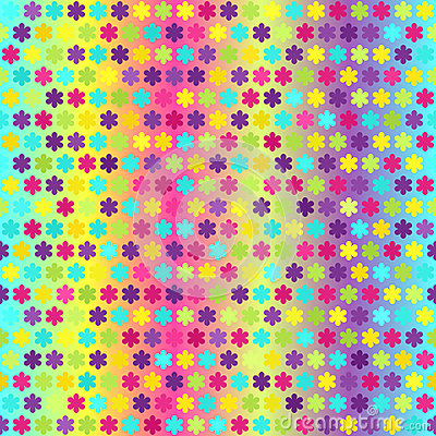 Glowing flower pattern. Seamless vector Vector Illustration