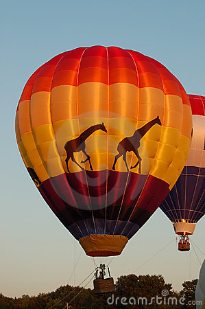 Glowing giraffe hot air balloon