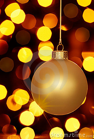 Free Glowing Gold Christmas Ornament And Holiday Lights Stock Images - 15582294