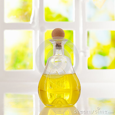Glowing golden olive oil