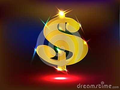 Glowing Golden US Dollar Sign with Spotlights