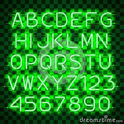 Glowing Green Neon Alphabet. Vector Illustration