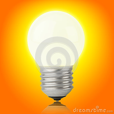 Free Glowing Incandescent Light Bulb On Yellow-orange Royalty Free Stock Photo - 29414855