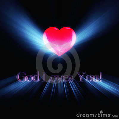 Glowing inscription God Loves You