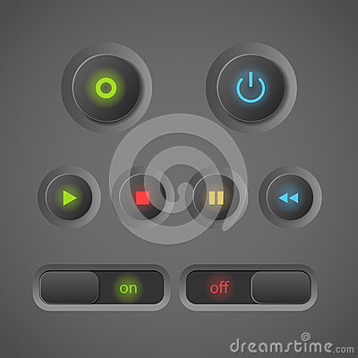 Glowing interface buttons